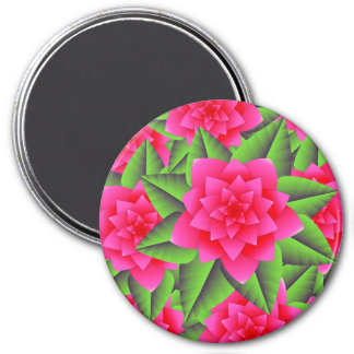 Fuschia Pink Camellias and Green Leaves Magnet