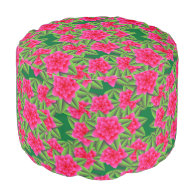Fuschia Pink Camellias and Green Leaves Round Pouf