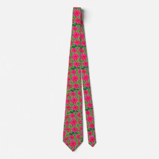 Fuschia Pink Camellias and Green Leaves Tie