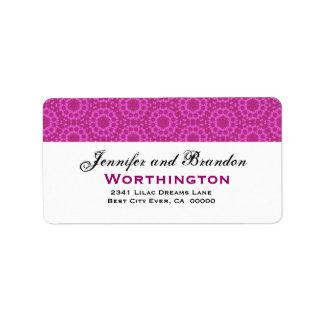 Fuschia Pink Circle Flowers Wedding Template Label