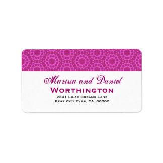 Fuschia Pink Circle Flowers Wedding Ver D001 Label