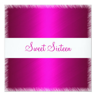 Fuschia Pink Fringe Sweet Sixteen Birthday 5.25x5.25 Square Paper Invitation Card