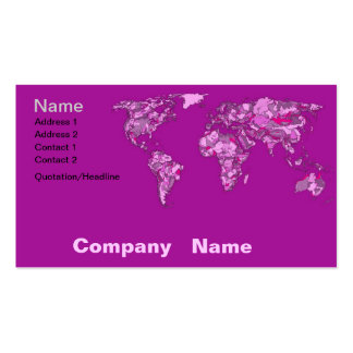 Fuschia pink map business cards