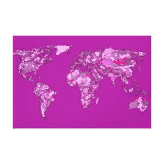 Fuschia pink map canvas print