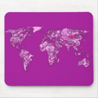 Fuschia pink map mousepad