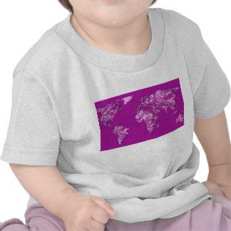 Fuschia pink map t-shirts
