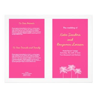 Fuschia pink palm trees summer wedding program full color flyer
