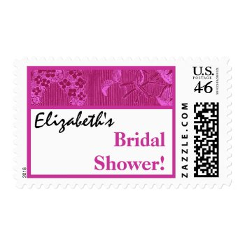 Fuschia Pink Vintage Floral Ribbon Bridal Shower zazzle_stamp