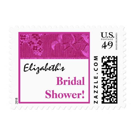 Fuschia Pink Vintage Floral Ribbon Bridal Shower Postage ...