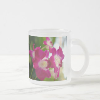 Fuschia Red Flower - Frosted Glass  Mug