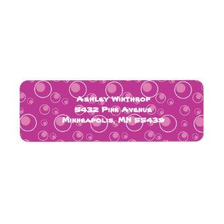 Fuschia rosado puntea etiquetas del remite del cír etiquetas de remite
