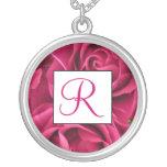 Fuschia Rose Monogram Necklace - June Birth Flower