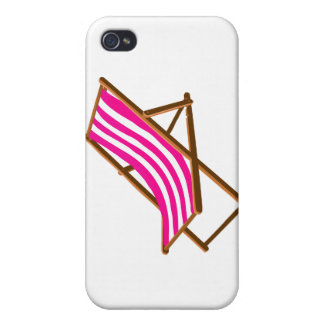 fuschia striped wooden beach chair.png cases for iPhone 4