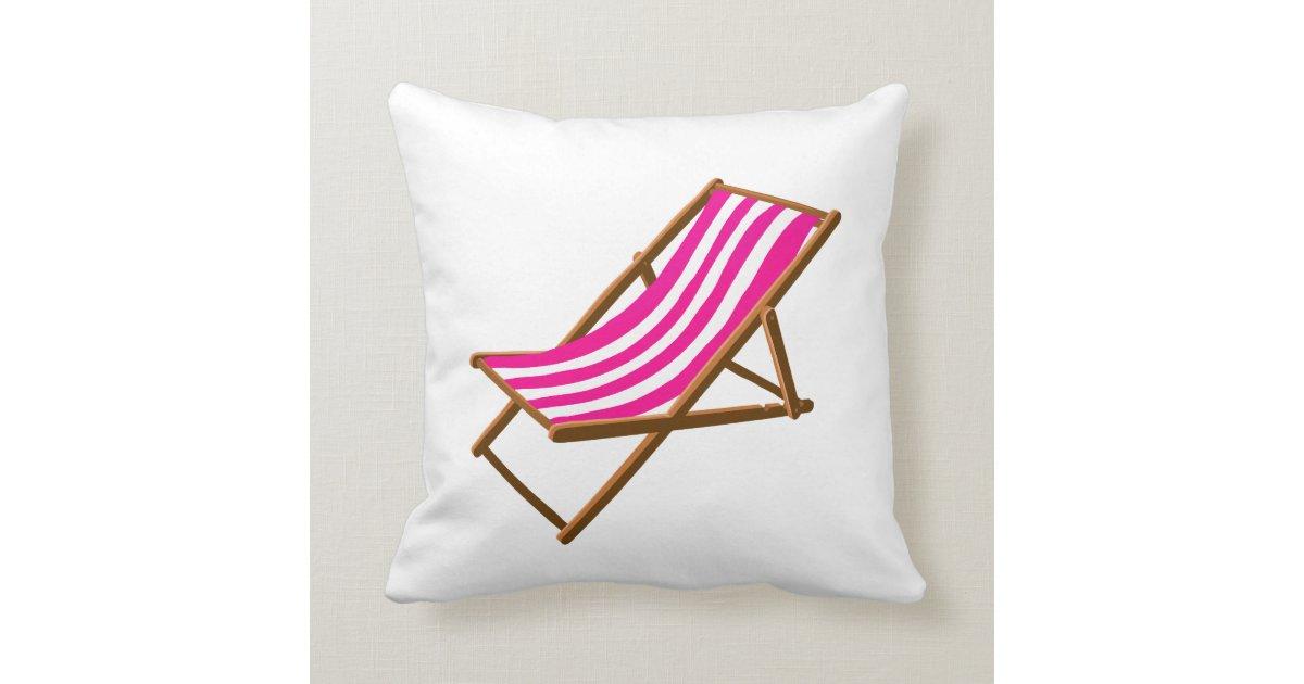 Fuschia Striped Wooden Beach Chair Png Throw Pillow Zazzle
