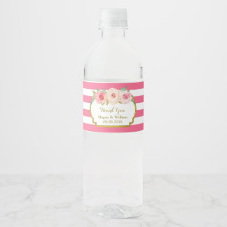 Fuschia Stripes Floral Gold Water Bottle Label