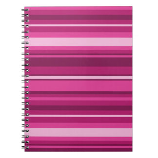 Fuschia stripes spiral notebook