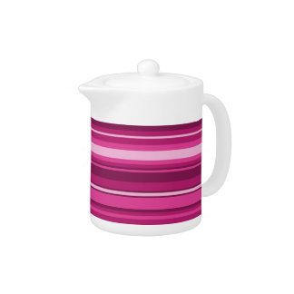 Fuschia stripes teapot
