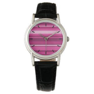 Fuschia stripes wristwatch