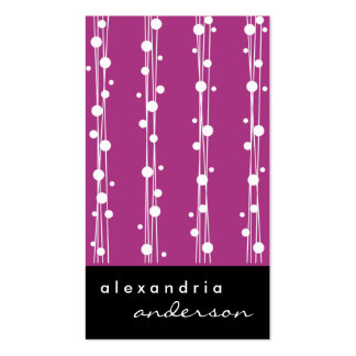 Fuschia Stylish Dots and Straw Business Cards
