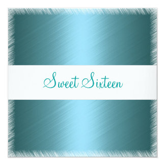 Fuschia Teal Fringe Sweet Sixteen Birthday 5.25x5.25 Square Paper Invitation Card
