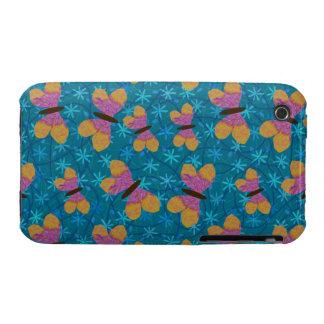 Fuschia y caja amarilla de las mariposas para el i iPhone 3 Case-Mate fundas