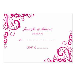 Fuschia y tarjetas del asiento del boda del Flouri Tarjeta De Visita