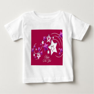 Fuscia and Red Happy New Year Shooting Stars Baby T-Shirt