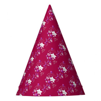 Fuscia and Red Happy New Year Shooting Stars Party Hat