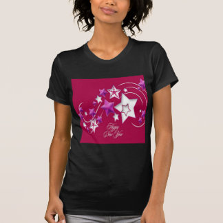 Fuscia and Red Happy New Year Shooting Stars T-Shirt