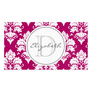 Fuscia Damask Monogram Appointment Business Card