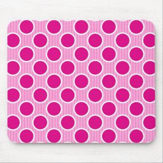 Fuscia Dots on Pink Stripes Mouse Pad
