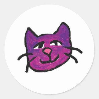 fuscia-nekko-chan round sticker
