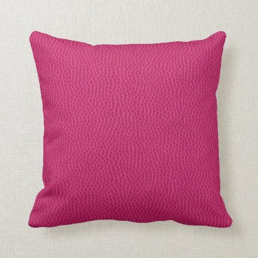 Fuscia Pink Oversized Leather Grain Pillow