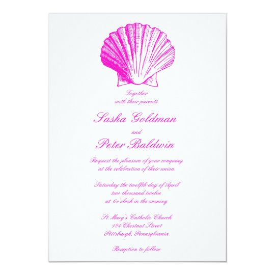 Fuscia Sea Shells Wedding Invitation