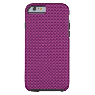 Fushcia Hot Pink Carbon Fiber Print Tough iPhone 6 Case