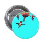 Fushia and Hummingbird 2 Inch Round Button