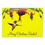Fushia and Hummingbird Greeting Card
