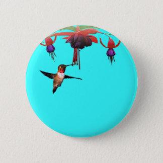 Fushia and Hummingbird Pinback Button