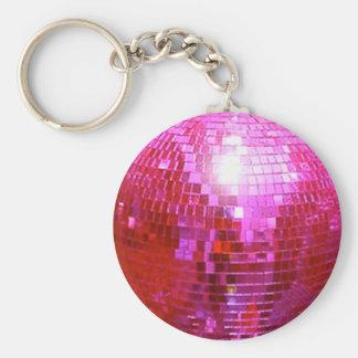FUSHIA DISCO BALL DANCE PARTY BASIC ROUND BUTTON KEYCHAIN