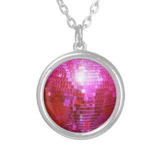 FUSHIA DISCO BALL DANCE PARTY SILVER PLATED NECKLACE