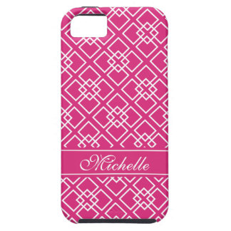 Fushia Pink Monogram Geometric Pattern iPhone 5 Case