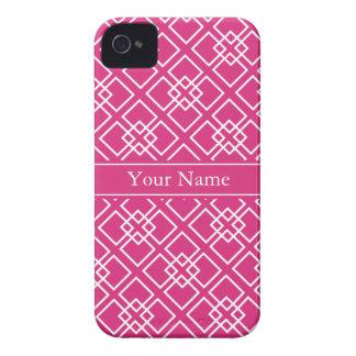 Fushia Pink Monogram Geometric Pattern Blackberry Cases