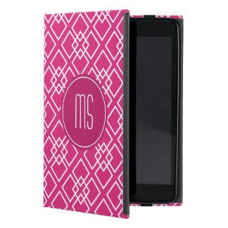 Fushia Pink Monogram Geometric Pattern Cases For iPad Mini
