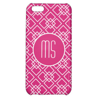Fushia Pink Monogram Geometric Pattern Cover For iPhone 5C
