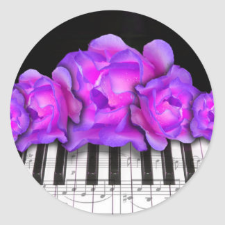 Fushia Roses and Piano Keyboard and Notes Classic Round Sticker