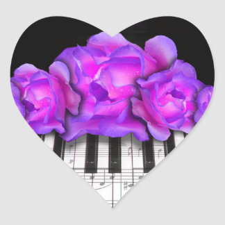 Fushia Roses and Piano Keyboard and Notes Heart Sticker