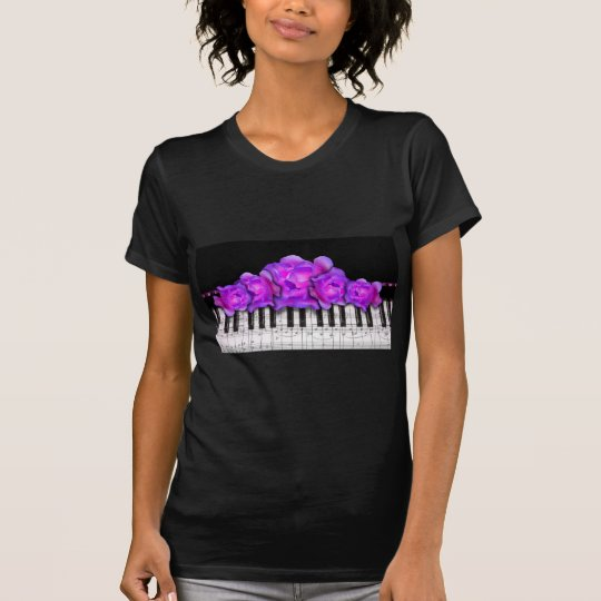 Fushia Roses and Piano Keyboard and Notes T-Shirt