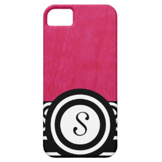 Fushia Watercolor with Black and White Monogram iPhone 5 Cover