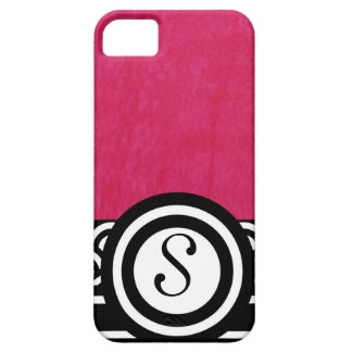Fushia Watercolor with Black and White Monogram iPhone 5 Covers