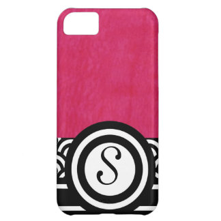 Fushia Watercolor with Black and White Monogram Case For iPhone 5C